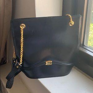 Vintage Bally Black Shoulder Chain Purse Bag